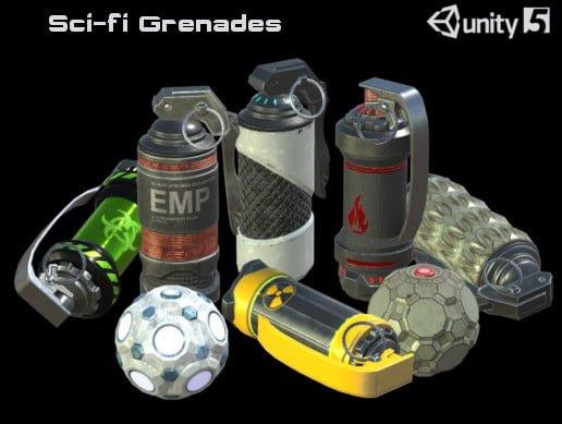 Unity Asset Sci-Fi Grenades PBR free download
