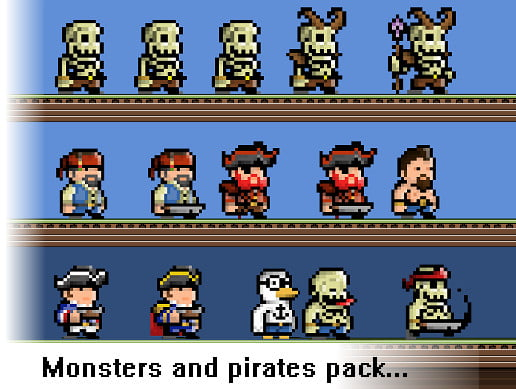 Unity Asset Monsters and Pirates Pixel Art Pack free download