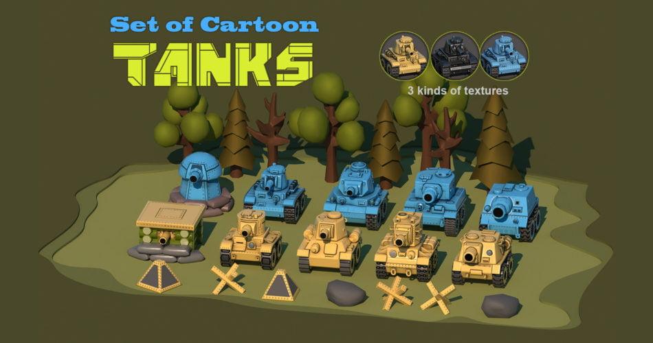 Set of Cartoon Tanks